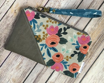 Date Night Clutch, Small Wristlet, Vegan Leather, Rifle Paper Co, Floral Fabric, Les Fleurs Fabric, Grey Leather, Evening Bag, Modern Clutch