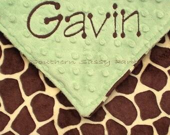 Baby Blanket , Monogrammed Giraffe Minky and Minky Dot , Baby - Toddler Size Blanket 30x36
