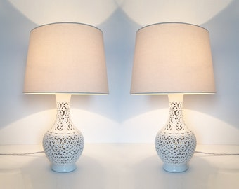 Pair Of Blanc De Chine Table Lamps Vintage Mid Century