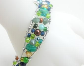 Beaded Bracelet, Wire Wrapped Bracelet, Handmade Jewelry, Birthday Gift, Girlfriend Gift, Gift for Her, Adjustable Bracelet