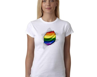 Love Wins T Shirt Rainbow Graphic #lovewins Gay Pride and Proud Ripped Paper LGBT Women's