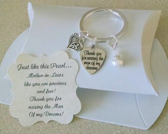 Birthday Gift For Mother In Law, Thank You For Raising The Man Of My Dreams, Mother Of Groom, KEY CHAIN, Charm Size of Nickle