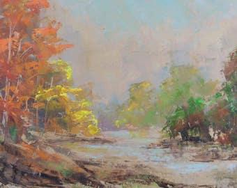 Old Vintage Expressionist Trees Landscape Mid Century Modern Art Painting Retro
