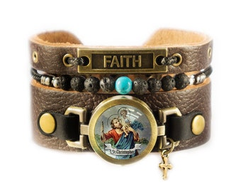 Saint Christopher Leather Bracelet with Turquoise and Lava Gemstone Beads