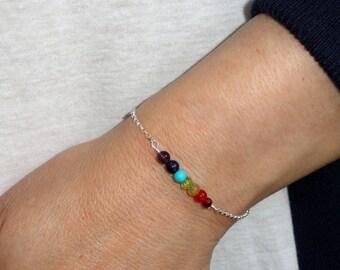 Sterling silver chakra bracelet, Chakra bracelet, Silver chakra bracelet,  Meditation jewelry, Gifts