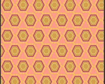 "4"" of Rhapsodia Folk Vision Salmon  by Pat Bravo for Art Gallery Fabrics"