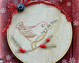 Christmas bird embroidery PDF Pattern - Joy to the world stitchery primitive hoop art berries