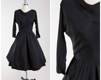 Vintage 50s Dress • Melody Lingers • Black Rayon 1950s Day Dress Size Small