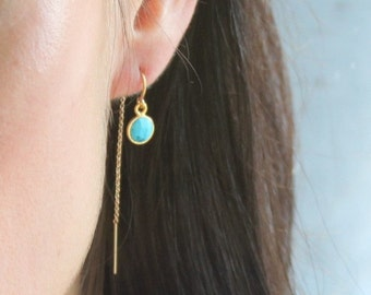 Gem Drop Earrings, Gold Threader Earrings, Dangle Earrings, Gem Earrings, Gold Earrings, Gift for Her, Dangling Earrings, The Silver Wren