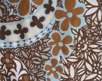 1960s pair of curtains / fabric, vintage, retro, flower-power Textra 'Carnaby', cotton
