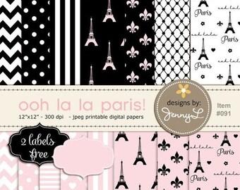 50% OFF Paris Digital Paper, Eiffel Tower Printable Digital Background Papers, Fleur, Pink and Black Paper for Birthday etc
