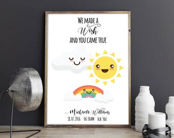 We Made a Wish and You Came True Custom Personalised Rainbow Baby Kids Room Wall Art Nursery Print Baby Announcement