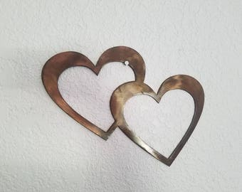 Copper heart.  Metal art.