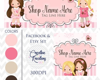 Timeline Banner Happy Valentines Day Girl Girls In Pink Hearts Facebook Cover Set Facebook Business Page Set