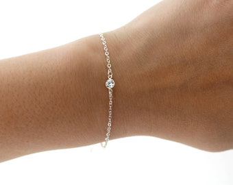 Sterling Silver Solitaire Bracelet, Dainty Silver Bracelet, Tiny Crystal Sterling Silver Bracelet, Delicate Sterling Silver Charm Bracelet