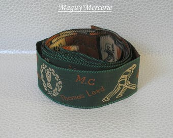 Polyester sport pattern green and rust Ribbon trim