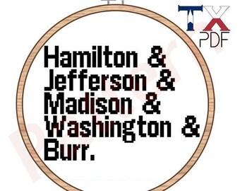 Hamilton cross stitch pattern - founding fathers Helvetica