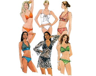 McCall's 5400 Womens Bikini Swimsuits and Caftan Top Bathing Suit Swimwear Sewing Pattern Size 12 14 16 18 Bust 34 - 40 inches UNCUT
