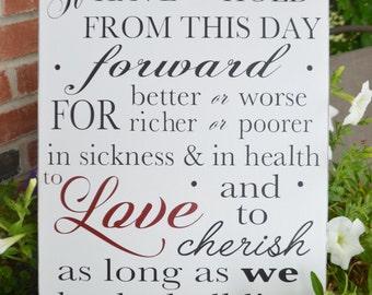 Wedding Vows Wooden Sign