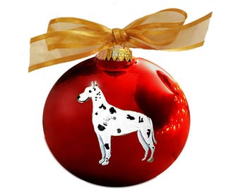 Great Dane (Harlequin) Dog Hand Painted Ornament - Can Be Personalized with Name