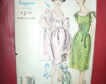 Vintage Size 12 Vogue Special Design One Piece Dress, Petticoat, and Stole 1960s Fashions