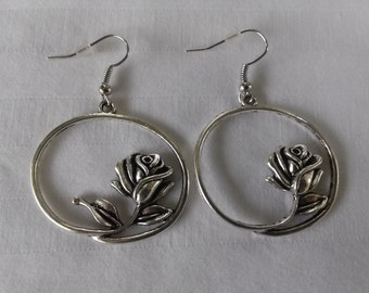 """Pair of Large """"ROUND ROSE"""" Dangle Earrings"""