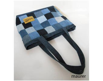 Recycled denim bag Shoulder patchwork bag Handbags Bag of squares Women's original bag Handbags for girls Bag with long straps Jeans bag