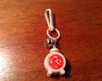 Vintage 80s White and Red Alarm Clock Plastic Bell Charm Retro Pendant 1980s Clip On