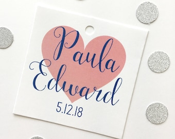 Personalized Wedding Tags, Names, Date, Heart Wedding Tags, Wedding Date Tags, Wedding Tags (SQ-505)