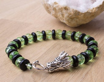 Dragon bracelet - Green and Black beaded dragon head bracelet | Dragon jewellery | Fantasy creature jewelry | Mythology bracelet