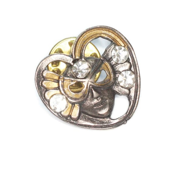Face Mask Pin Mardi Gras Heart Shape Crystals Tac Back Vintage Pin Brooch