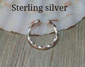 Fake septum/handmade fake septum/fake piercing/fake ring nose/fake septum piercing/fake nose ring/non pierced septum/silver fake septum