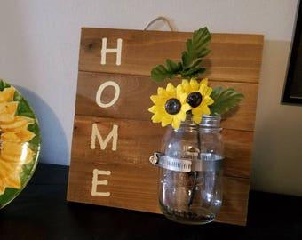 Home Sign with Mason Jar