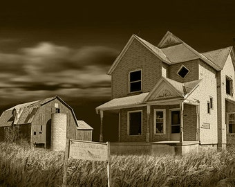 Abandoned Farm House and Barn for Sale near Moline in Southwest Michigan No.SP228134 A Sepia Toned Fine Art Farm Landscape Photograph