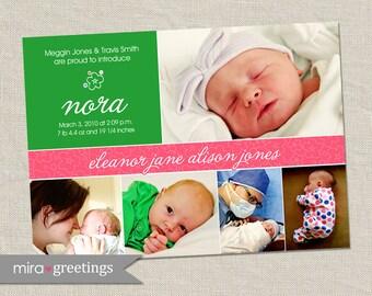 Baby Girl Flower Birth Announcement - Printable Digital File
