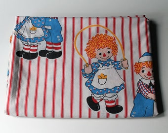 Vintage Raggedy Ann and Andy Twin FLAT Bed Sheet 1977