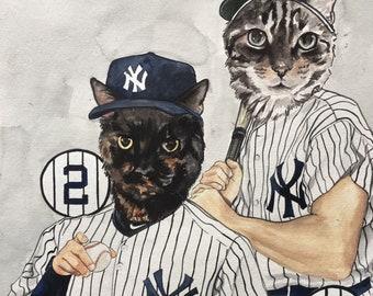Painting of Cat Character-Custom Cat Painting-Pet Portrait-New York Yankees