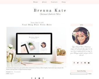 Pink Blogger Template - Feminine Blogger Template - Premade Blogger Template - Blogger Template Responsive