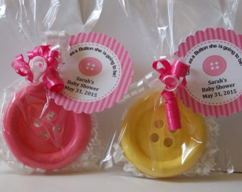 10 BIG BUTTON Soap Favors (With Tags & Curly Ribbons) - Cute As A Button Baby Shower, Lalaloopsy, Sewing, Kids' Birthday Party