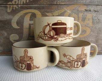 Vintage Speckled Stoneware Soup Bowls