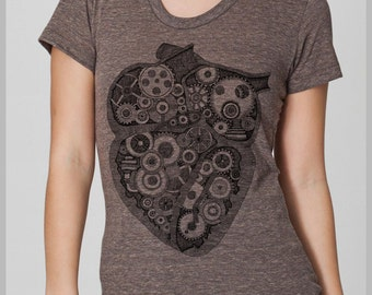 Steampunk Heart Hand Drawn Hand Printed Womens T Shirt American Apparel Tee s, m, l, xl  8 COLORS Full Spectrum  Birds Valentines Gift IR2