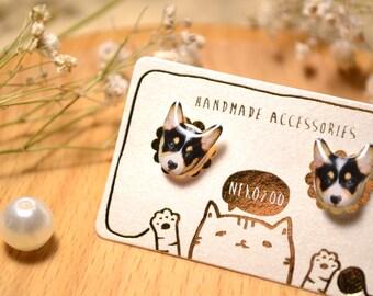 Dark Corgi Dog earrings handmade Tiny Jewelry with linen cotton bag