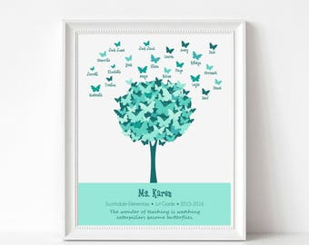TEACHER Gift - Personalized Print with Student Names - Butterfly Tree Art - Personalize with Name, School, Grade