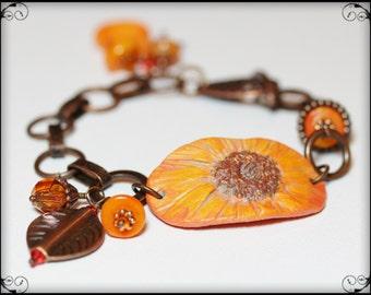 Calendula... Handmade Jewelry Bracelet Beaded Flower Leaves Leaf Antique Copper Orange Tangerine Polymer Clay Crystal Gemstone Chain Sparkly