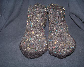 Black handmade crochet slippers