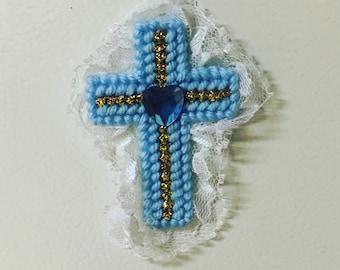 Blue Lace Cross Magnet