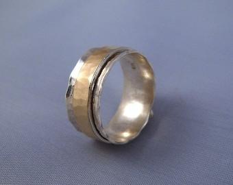 Hammered Spinning Silver Gold 9K Ring - ElenadE