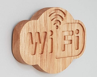 Wifi Sign - solid oak.Never forget your Wifi password again! Great for guest rooms/visitors or cafes. Passwords can be engraved on the rear.