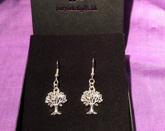 Tree Of Life Silver Plated Charm Earrings - Nickle free Earhook