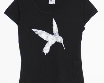 Hummingbird Clothing Women's Clothing Tops tees T-shirts hand painted tshirt graphic tee for her gift for her womens tops black tee bird